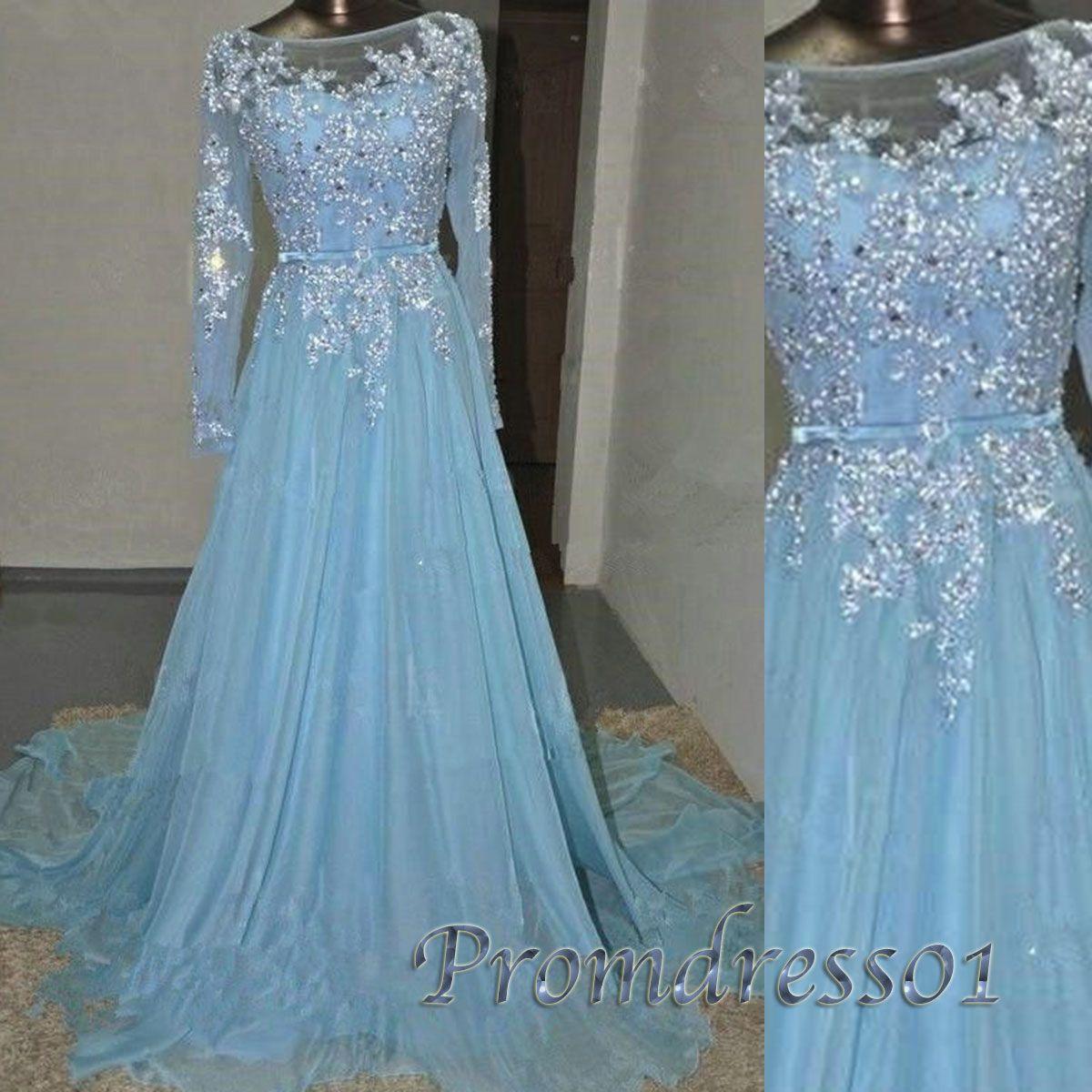 Beautiful sky blue chiffon long modest prom dress with sleeves ...