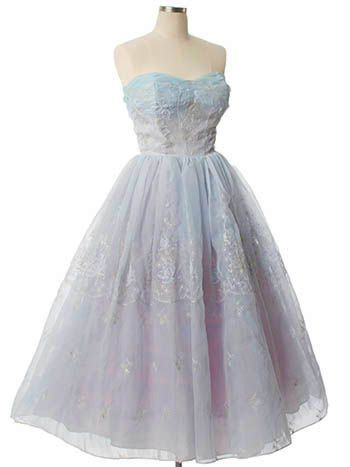 Blue Embroidered Organza 1950s Tea Length Prom Dress | Tea length ...