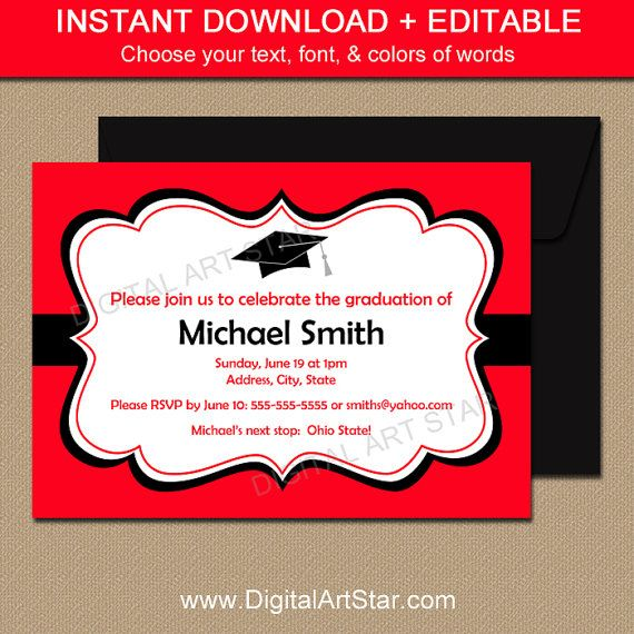EDITABLE Graduation Invitation Template - red \ white with black - announcement template