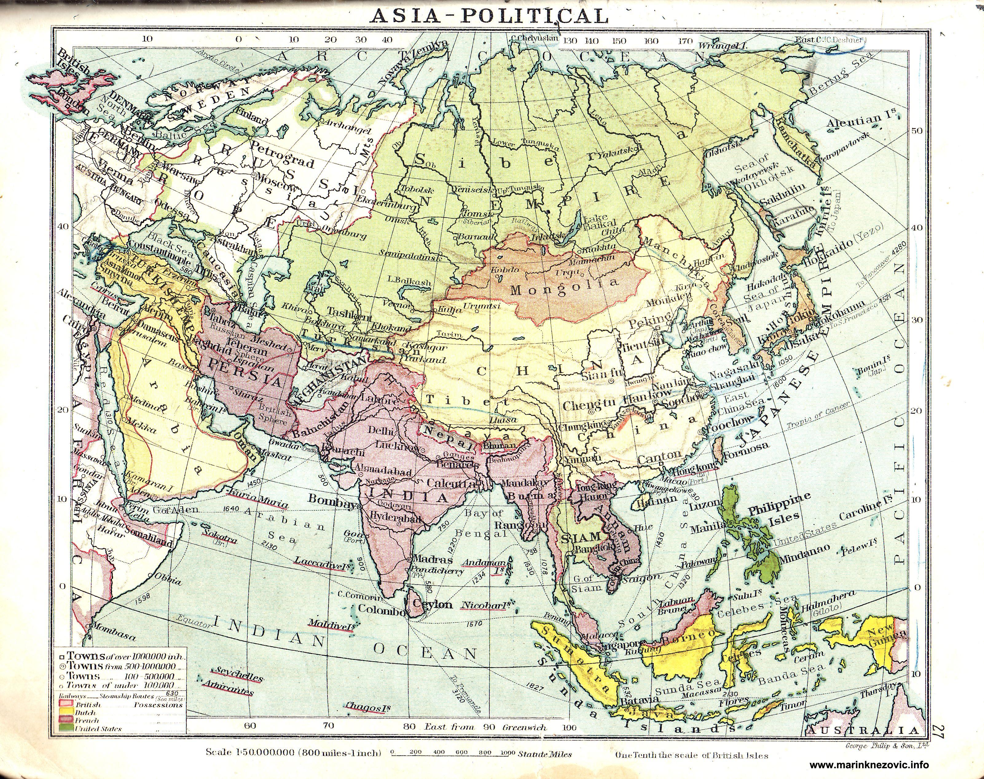 Politicka Karta Azije Asia Political Vintage World Maps Map