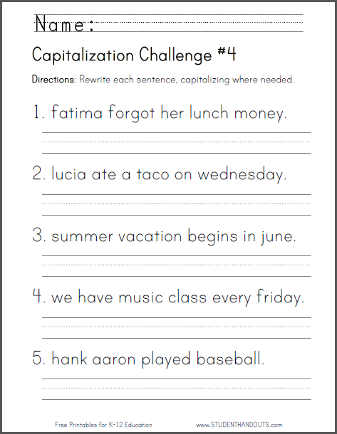 Capitalization Challenge Worksheet #4 Student Handouts First Grade  Writing, 2nd Grade Writing, 2nd Grade Worksheets