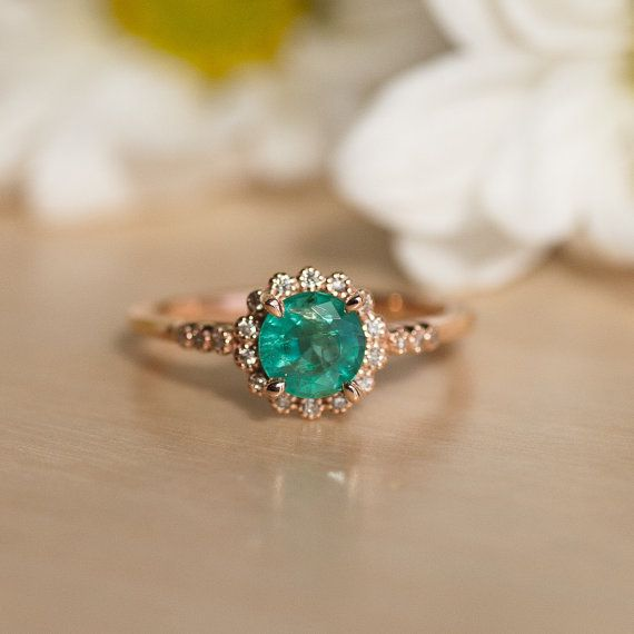 Emerald Ring, Rose Gold, Engagement Ring, Promise Ring