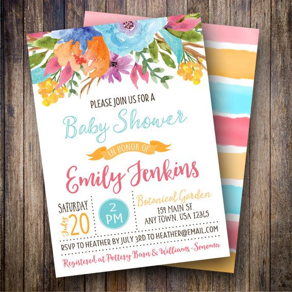 Watercolor Baby Shower Invitation, Floral Baby Shower Invite - printable baby shower invite