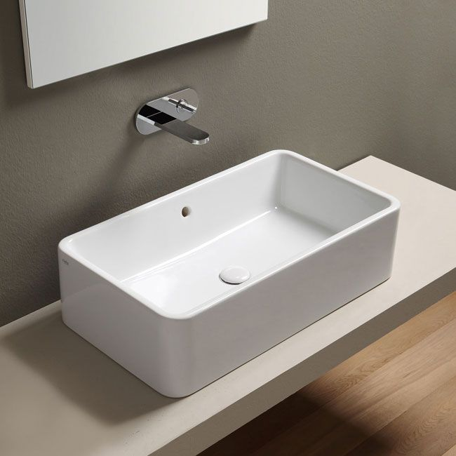 Lavabo da appoggio rettangolare 75 Bianco Shui - Lavabo Bianco da bagno Ceramica Cielo  Bagno ...