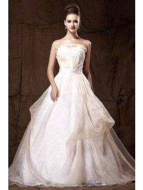Gorgeous Empire Strapless Satin and Organza Chapel Train Wedding Dress WEM05267-TB