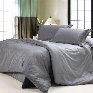 Amazon Com Diaidi Solid Dark Grey Bedding Sets Luxury Grey
