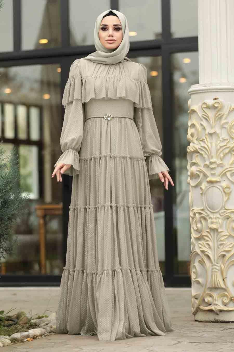 Tesetturlu Abiye Elbise Firfirli Bej Tesettur Abiye Elbise 3975bej Tesetturisland Com Elbise Victorian Elbiseler Elbiseler