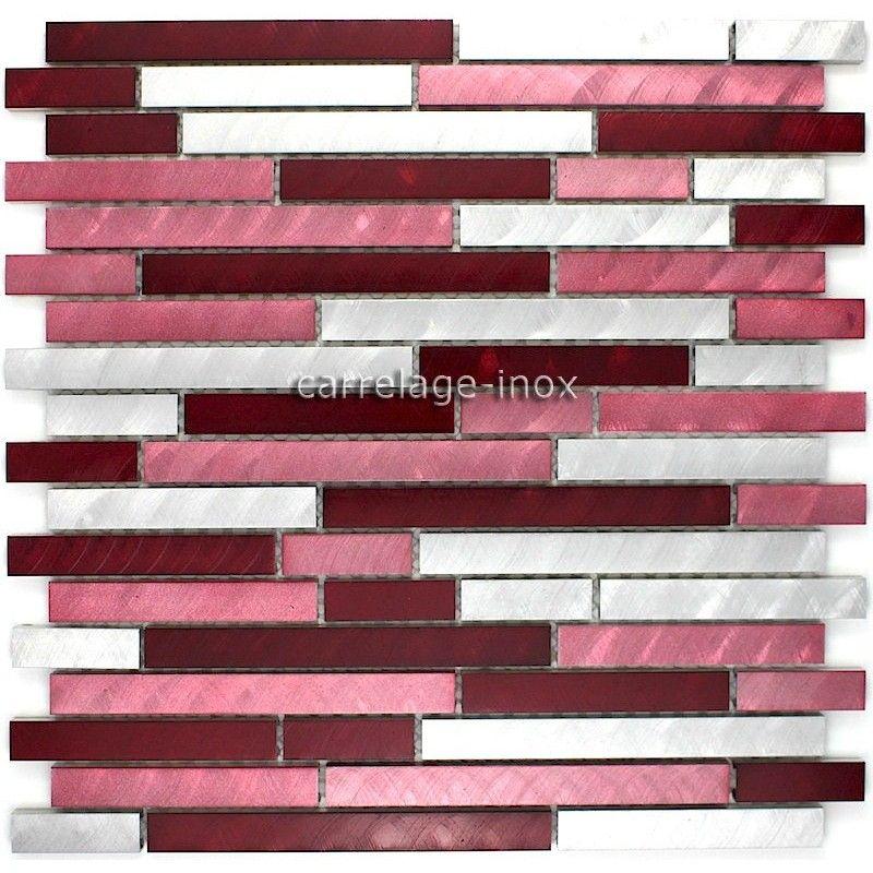 Mosaique aluminium carrelage cuisine crédence blend rouge