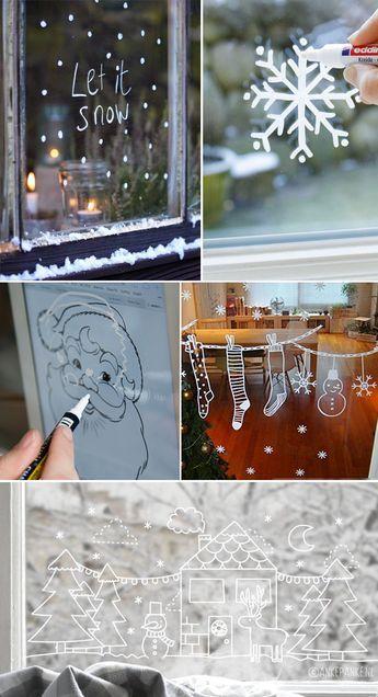 Dessiner des décorations de Noël sur les vitres de la maison - dessin de maison facile