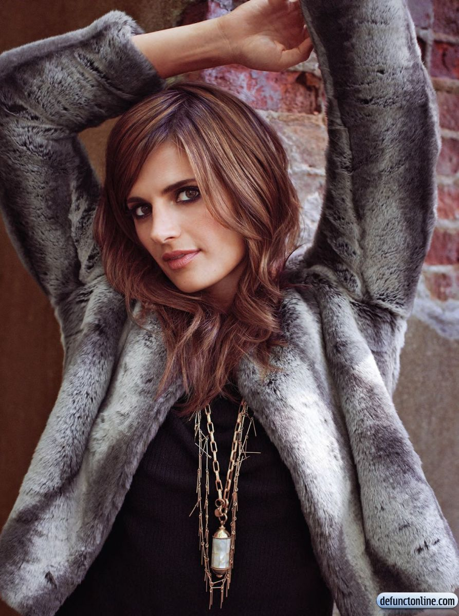 Stana Katic in fur and chains
