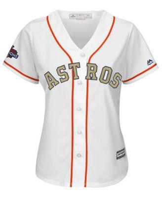 6409b595f12 Majestic Women s Jose Altuve Houston Astros Gold Replica Cool Base Jersey -  White XL