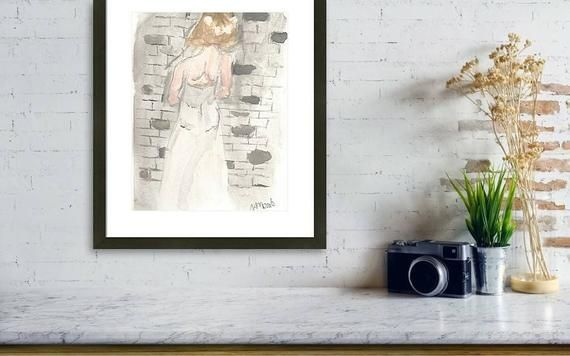 Print of 'In Her Way' Watercolor Painting,woman's back art print, wedding dress, cold feet, flower crown – *Personal: My Etsy Listings