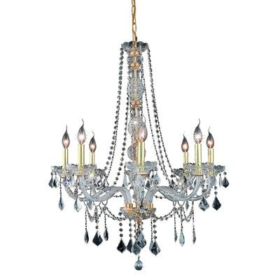 Verona 8 Light Crystal Chandelier Finish / Crystal Color / Crystal Trim: Silver Shade / Silver Shade (Grey) / Royal Cut - http://chandelierspot.com/verona-8-light-crystal-chandelier-finish-crystal-color-crystal-trim-silver-shade-silver-shade-grey-royal-cut-674477122/