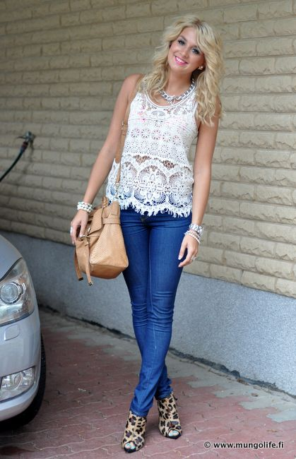 White Lace Shirt with Jeans.
