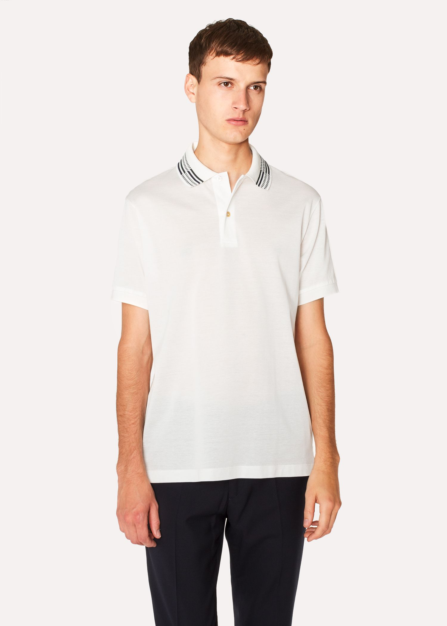 Men's Slim-Fit White Cotton-Piqué Polo Shirt With Stripe Tipping ...