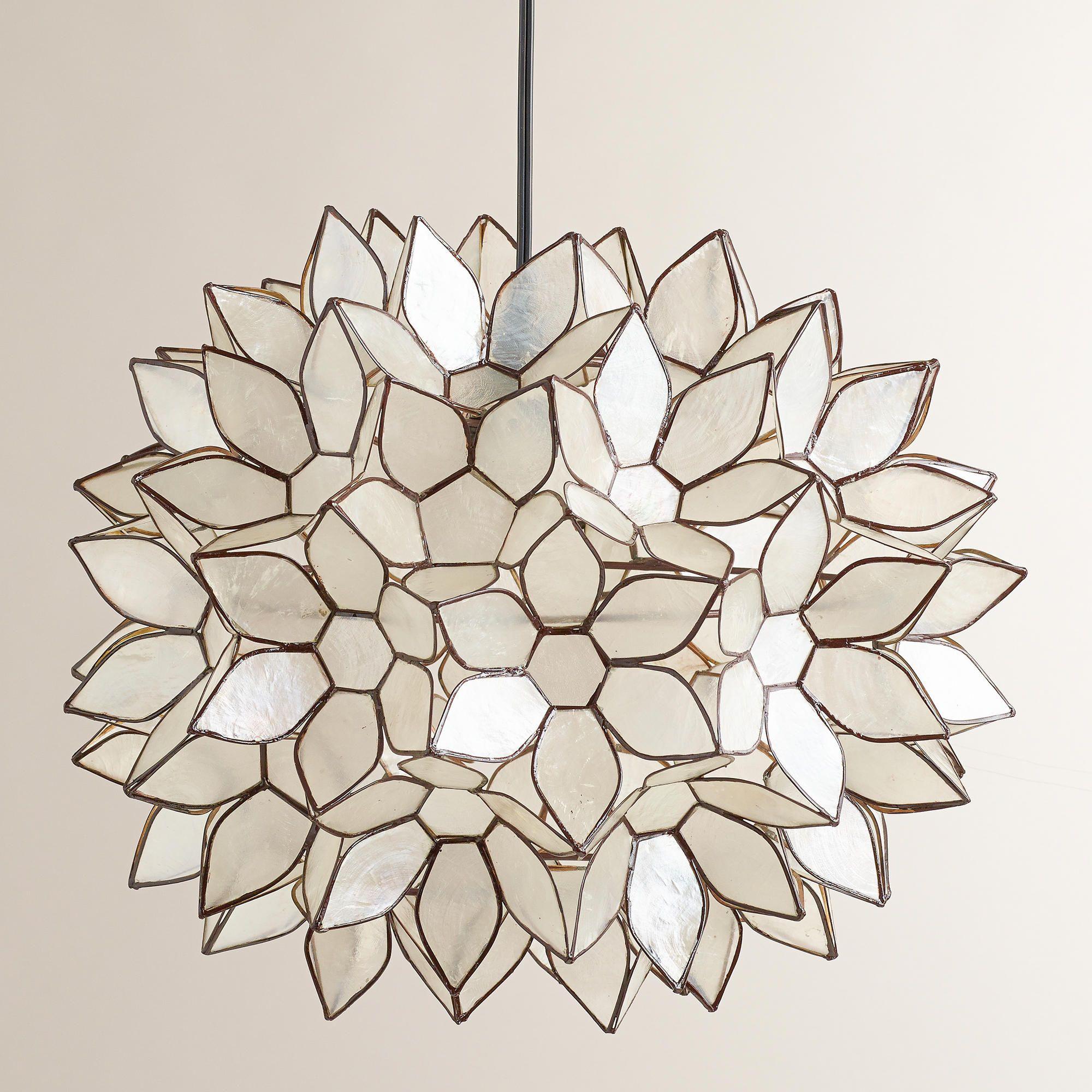 Large Capiz Lotus Hanging Pendant Lantern | World Market We Could Hang 3 Of  These Over