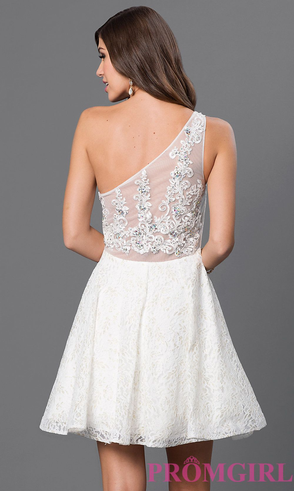 Image of short lace one shoulder fit and flare dress with sheer lace back Back Image