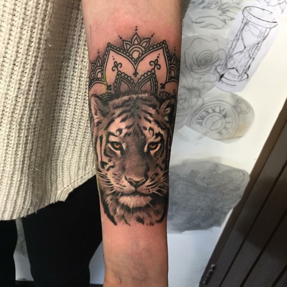 Girly tiger mandala by archiebald cook Possibly Tattoo Ideas