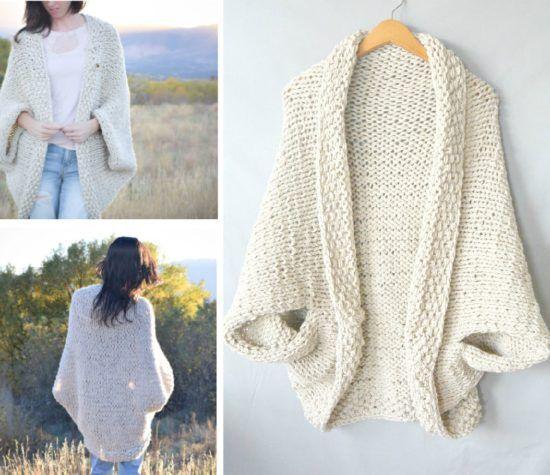 Cocoon Shrug Knitting Pattern Free Tutorial Super Easy