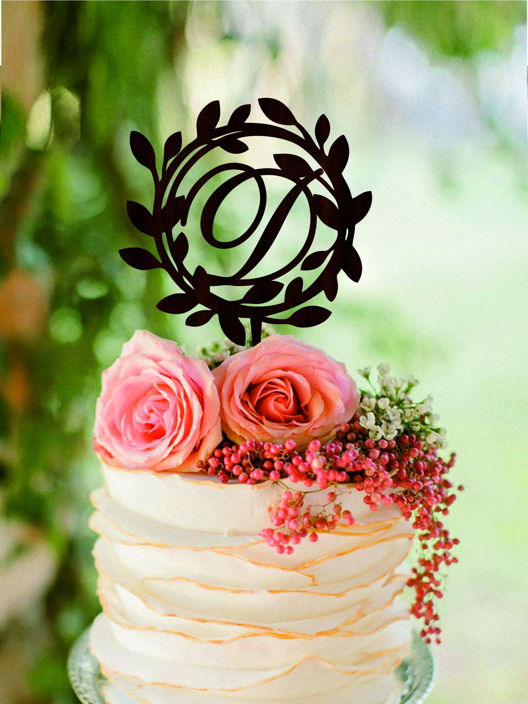 Letter d cake topper initial cake topper rustic wooden