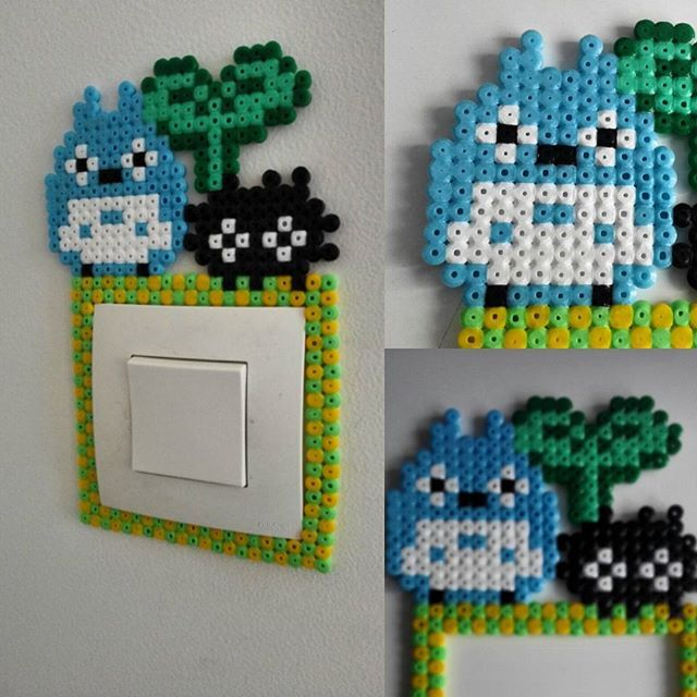 totoro light switch frame perler beads by geekngato hama ikea pinterest perler beads. Black Bedroom Furniture Sets. Home Design Ideas