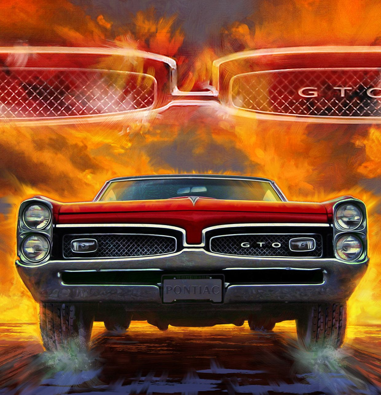 American Muscle Car Paintings On Behance Exercising Fitness