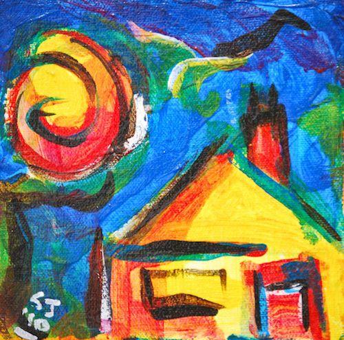 una casa con un sol