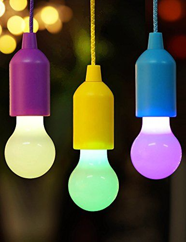 Bright Zeal Set Of 3 Decorative Color Changing Pull Cord Led Light Bulbs In Real Life Size Batteries Included Hanging Light Bulbs Led Light Bulb Led Light Lamp