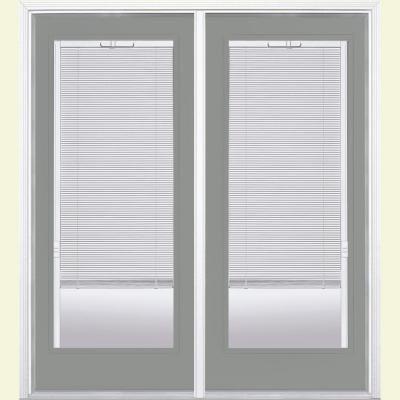 Masonite 72 In X 80 In Silver Cloud Steel Prehung Right Hand Inswing Mini Blind Patio Door With Brickmold 36256 The Home Depot Patio Doors Vinyl Frames Fiberglass Patio Doors