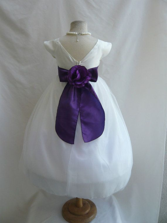 Flower Girl Dress Ivory Purple Sv Wedding Children Easter
