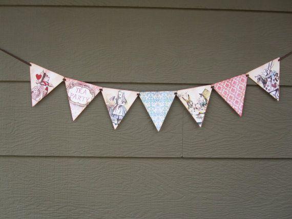 Tea Party Flag Pennant Banner Alice in Wonderland by DKDeleKtables