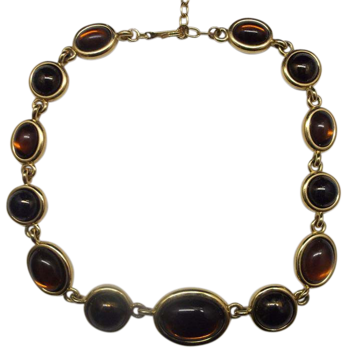 Caramel Cat S Eye Ring Diamontrigue Jewelry: Amber Brown Glass Cab Necklace Gold Tone Choker (With