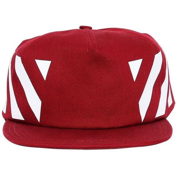 f8b9fa0b644038 Off White Women Stripes Print Cotton Canvas Baseball Hat (400 ILS) ❤ liked  on