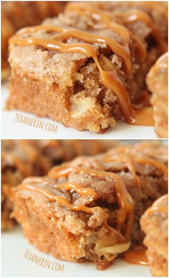 These apple cake bars are super moist and full of cinnamon apple goodness! #wholewheat