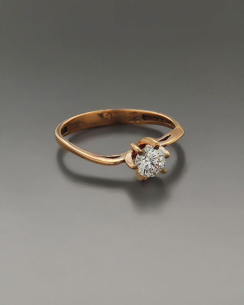Μονόπετρο δαχτυλίδι ροζ χρυσό Κ14 με Ζιργκόν  475c514830f