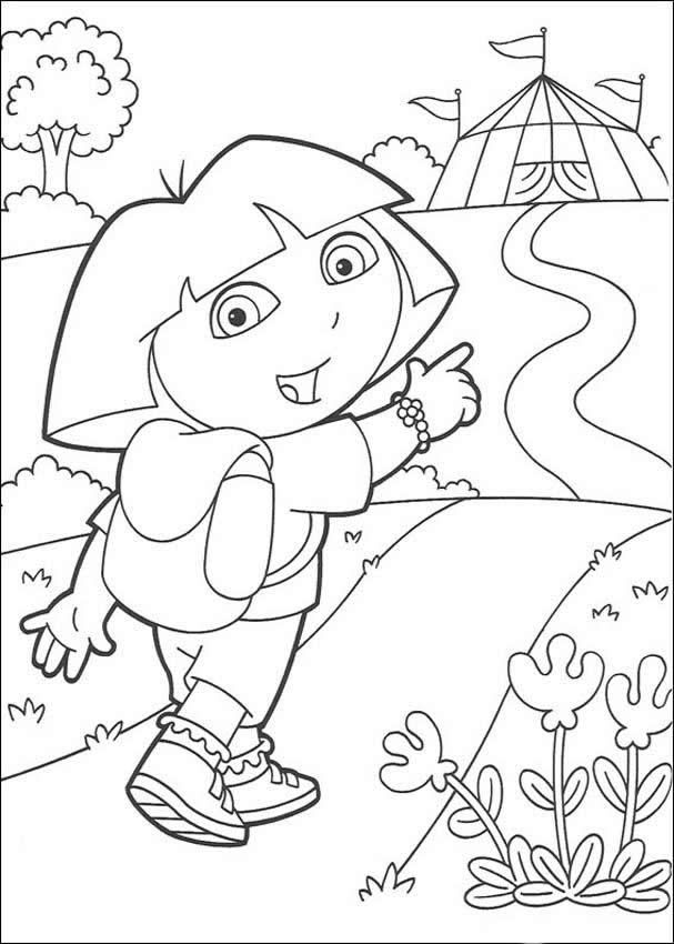 Print your own Dora coloring pagesLex would probably like these