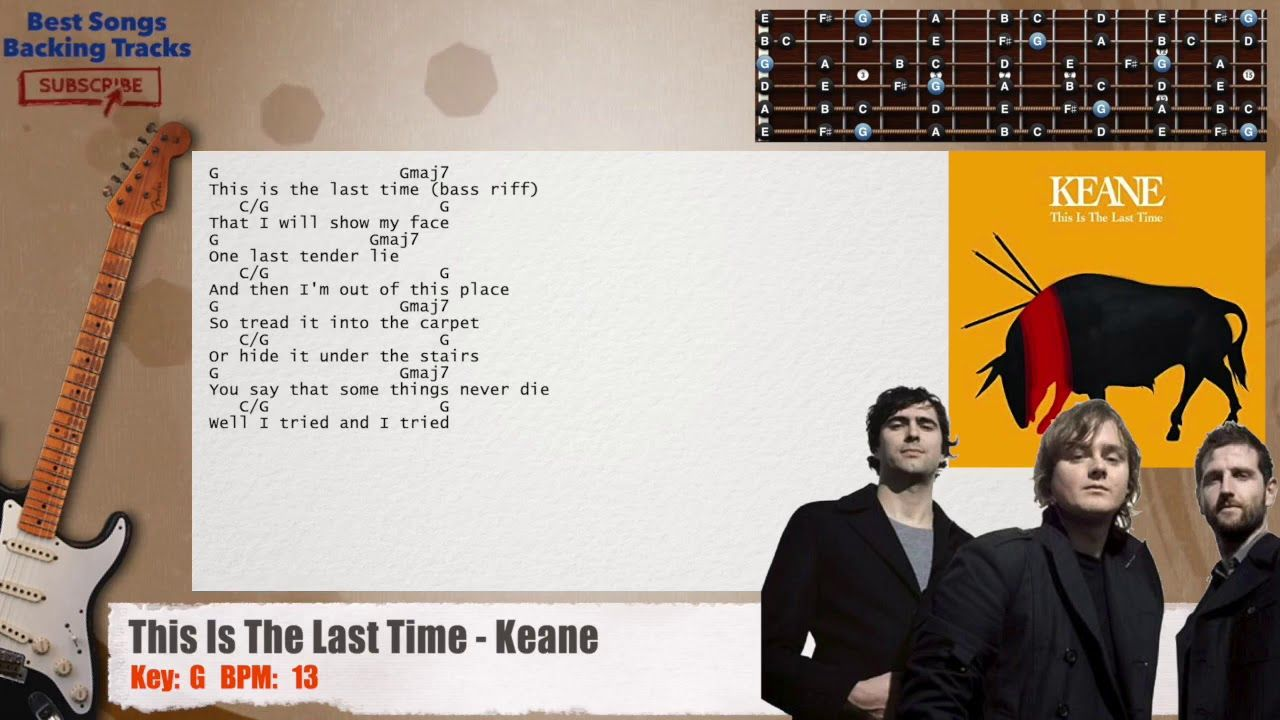 Karaoke version of song sweet home chicago by eric clapton 05:16 320kbps. This Is The Last Time Keane Guitar Backing Track With Chords And Lyrics Backing Tracks The Last Time Lyrics