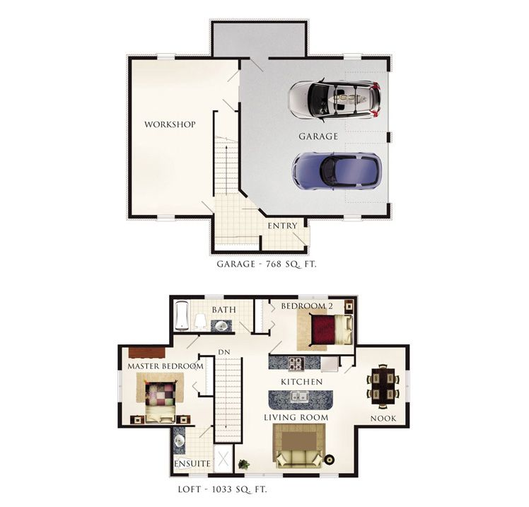 Cotswold I Floor Plan 2bd over garage with workshop by beaverhomesandcottages.ca