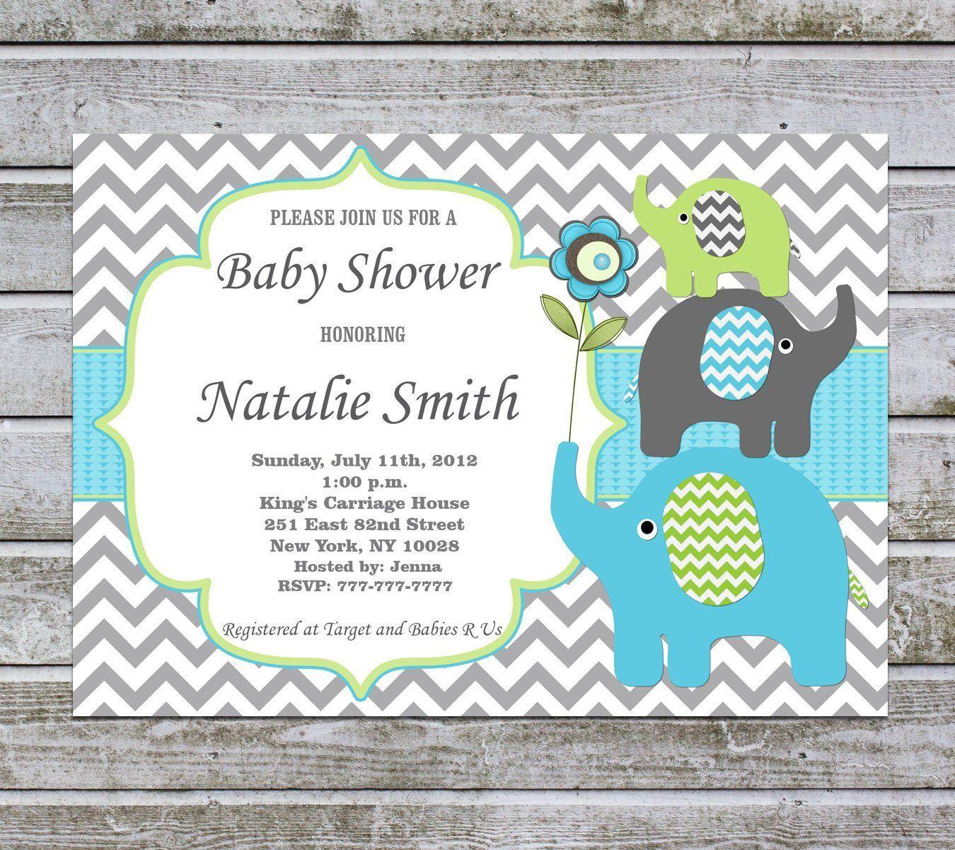 Elephant Baby Shower Invitation Boy Printable Baby Boy Shower Invite