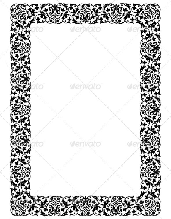 Elegant black lace frame on a white background Vector illustration