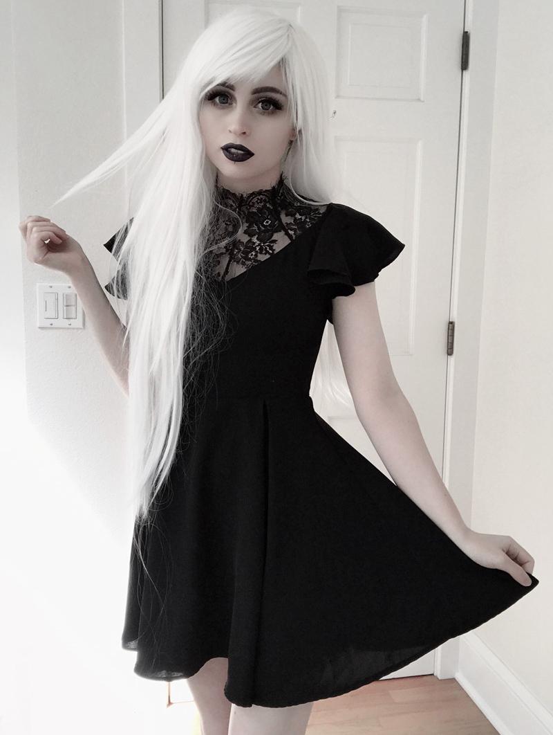 Punk Rave Black Summer Gothic Short Dress With Lace Collar Goth Dresses Short Goth Dress Emo Dresses [ 1062 x 800 Pixel ]