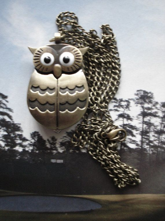 Necklace Pendant Owl Pocket Watch quartz Chain by Azuraccessories, $5.93