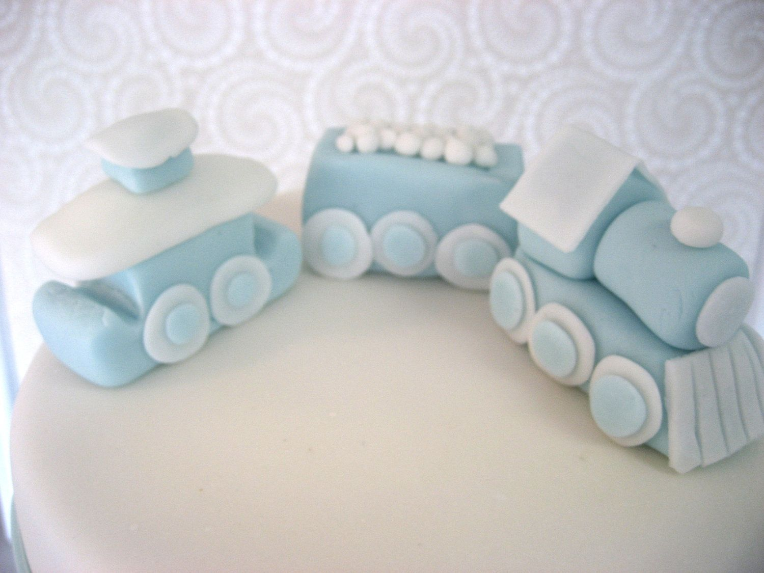 Edible cupcake decorations baby shower - Train Cake Topper Baby Blue And White Edible Fondant Birthday Shower Wedding