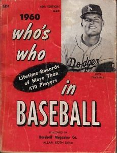 1960 Who S Who In Baseball Magazine Don Drysdale Los Angeles Dodgers Baseball Sports Magazine Don Drysdale