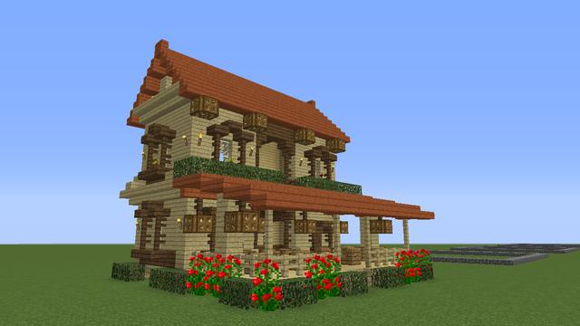 今日の 16ハウス はシラカバとアカシアを使った涼しげな木の家です 広々としたウッドデッキにテーブルを並べれば おしゃれなカフェになります アカシアの赤い屋根がとてもかわいい 屋根のデザイン マインクラフトの家 家