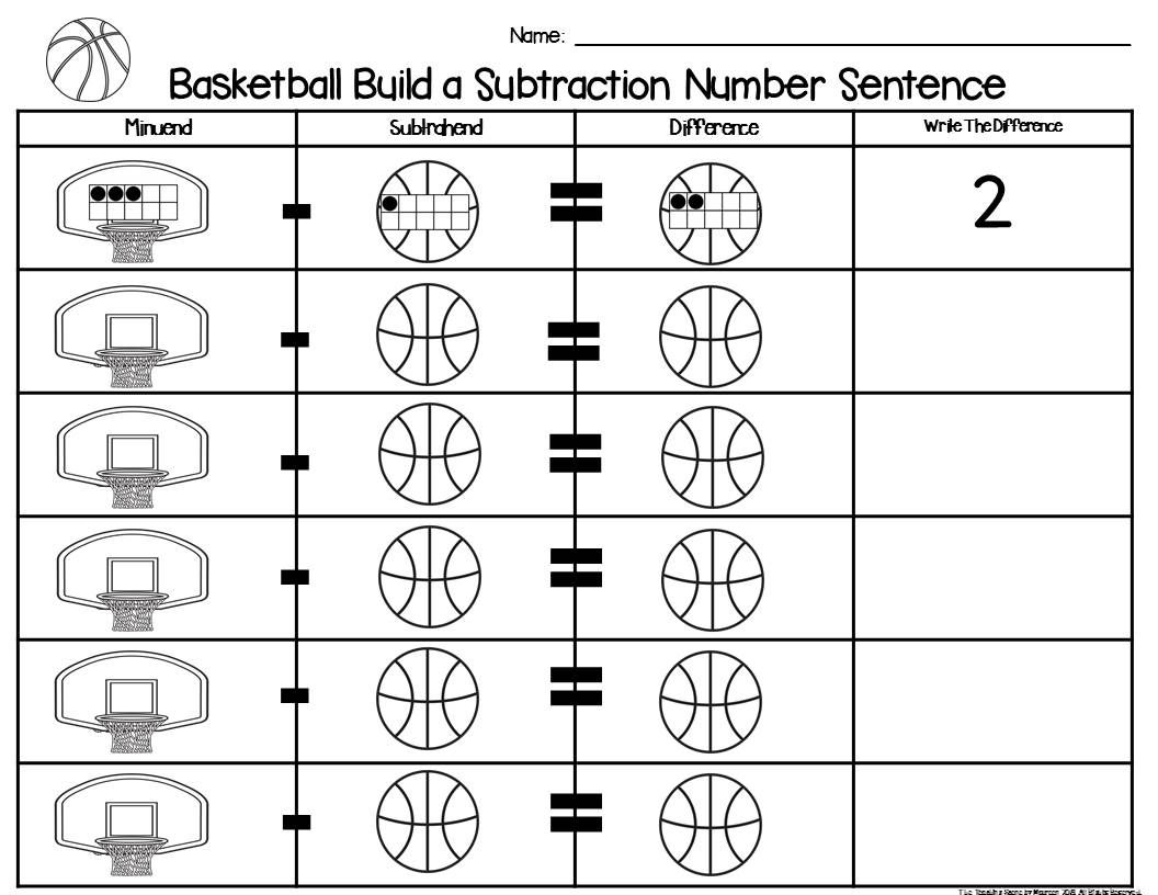 Basketball 2 Addend Addition Amp Subtraction With Ten Frames