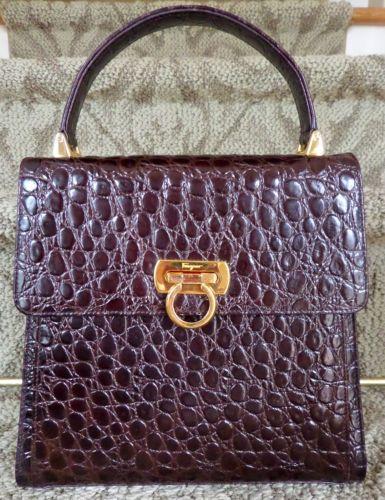 dc509e103b05 Details about Vintage Salvatore Ferragamo Classic Omega Kelly Bag ...