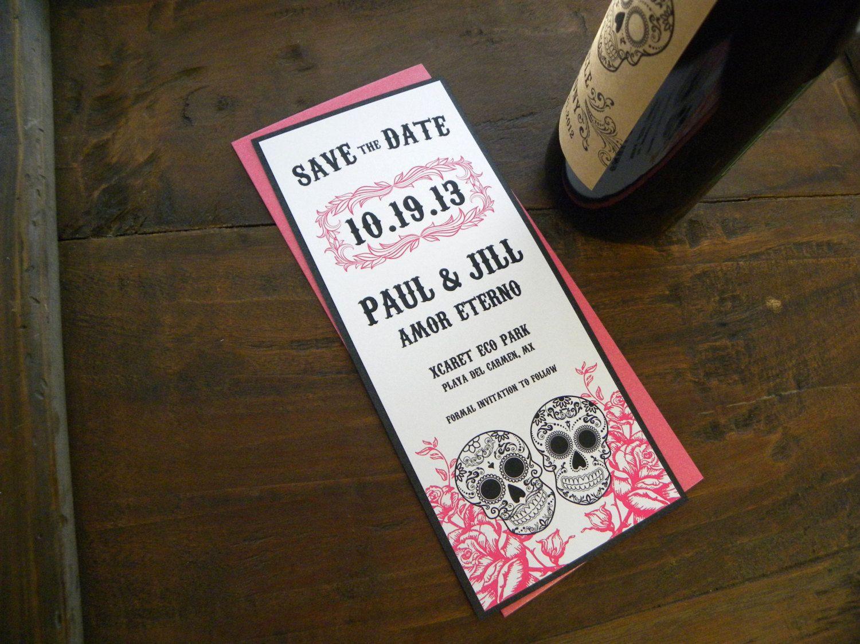 Wedding Invitations Manchester: Layered Sugar Skull Save The Date