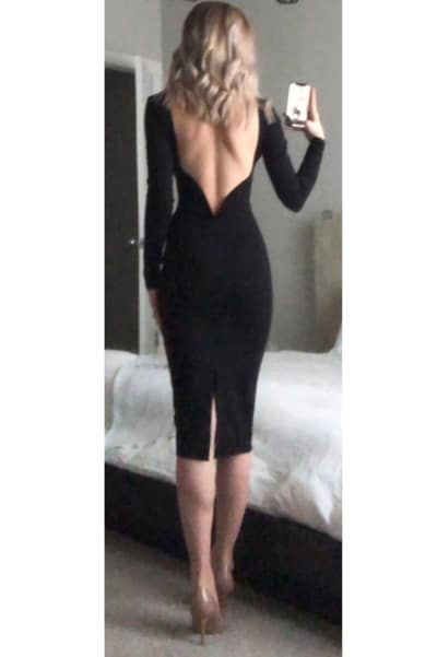 Lulus | Va Va Voom Black Backless Midi Dress | Size Medium #backlesscocktaildress