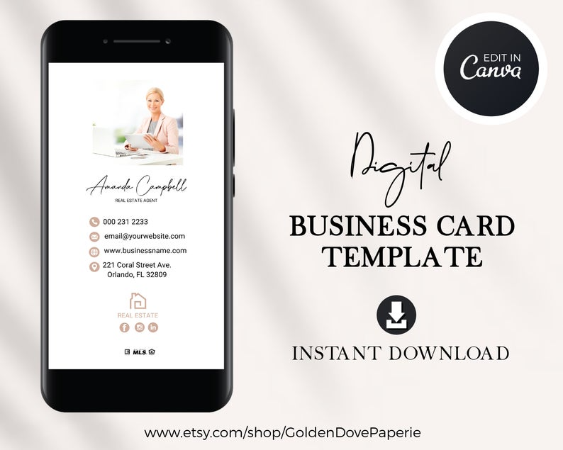 Digital Business Card Canva Template Real Estate Business Etsy Digital Business Card Realtor Business Cards Real Estate Business Cards